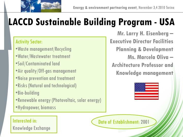 LACCD Sustainable Building Program