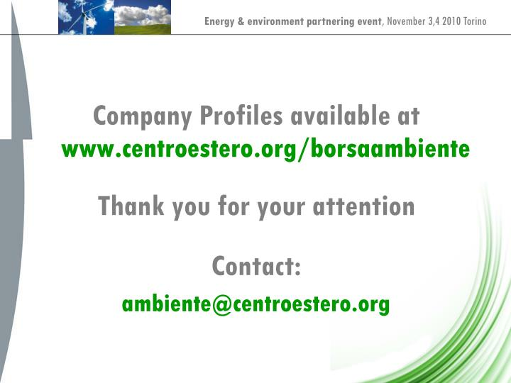 Company Profiles available at
