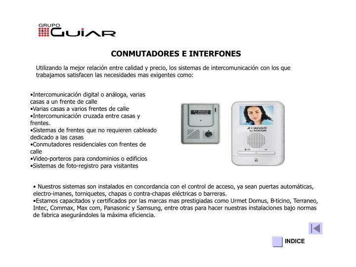 CONMUTADORES E INTERFONES