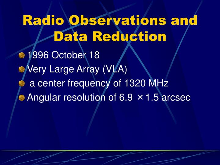 Radio Observations and Data Reduction