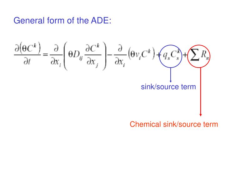 General form of the ADE:
