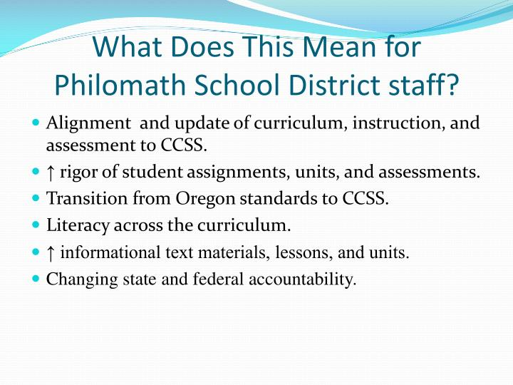 What Does This Mean for Philomath School District staff?