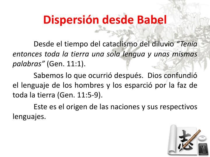 Dispersión desde Babel