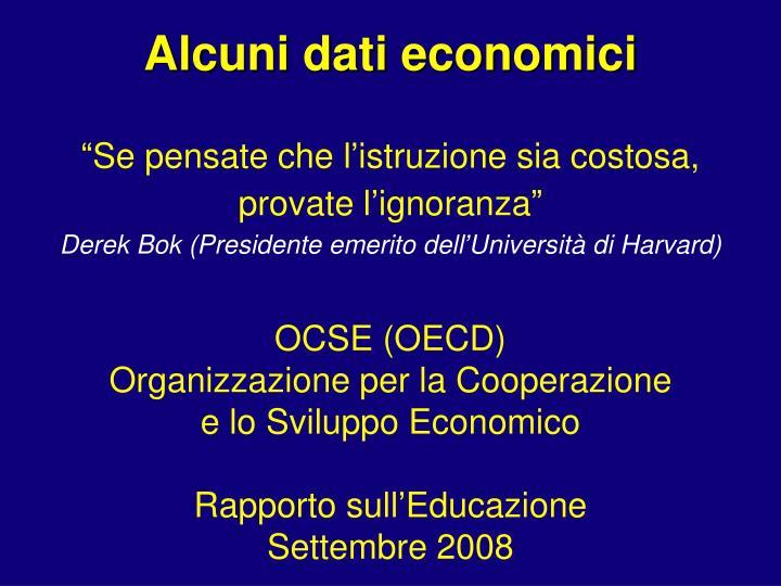 Alcuni dati economici