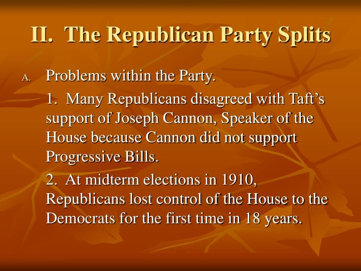 II.  The Republican Party Splits