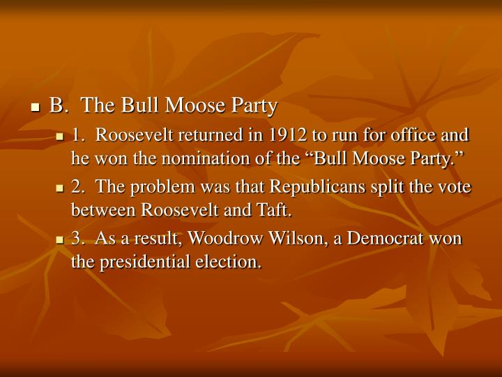 B.  The Bull Moose Party