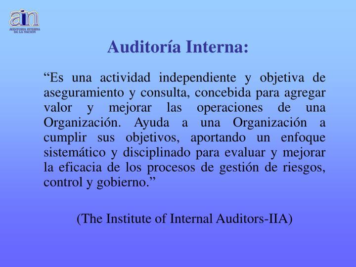 Auditoría Interna: