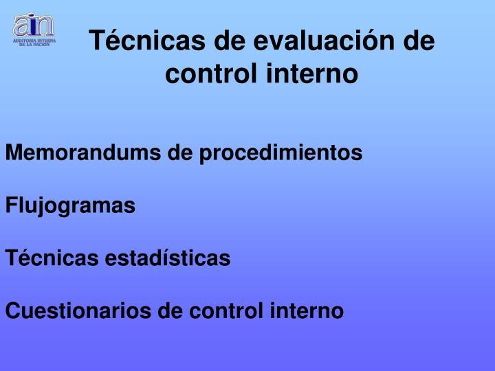 Técnicas de evaluación de control interno