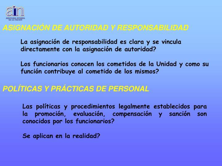 ASIGNACIÓN DE AUTORIDAD Y RESPONSABILIDAD