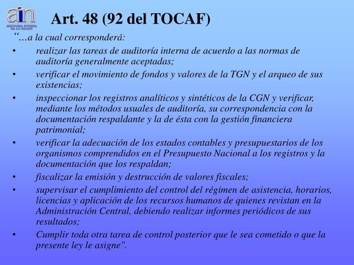 Art. 48 (92 del TOCAF)