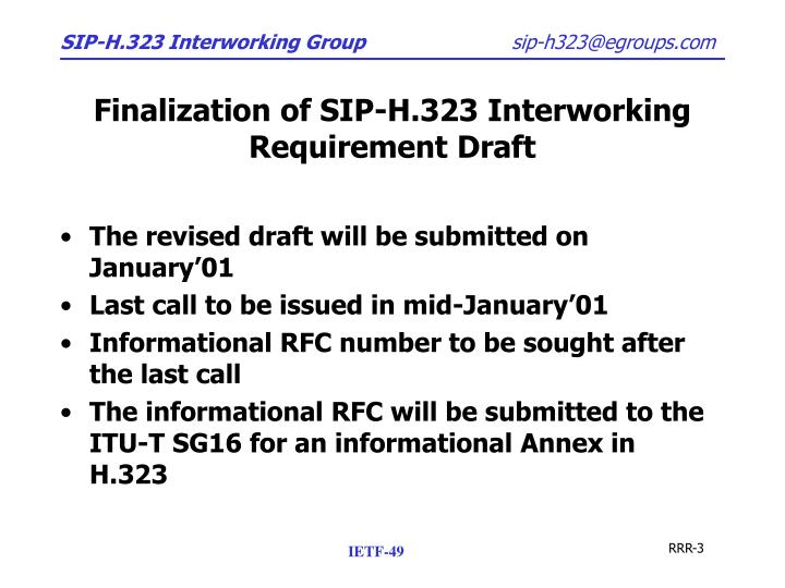 Finalization of sip h 323 interworking requirement draft