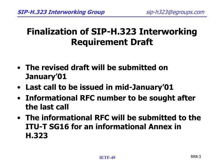 Finalization of SIP-H.323 Interworking Requirement Draft