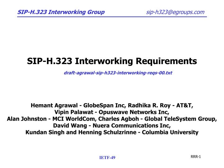 Sip h 323 interworking requirements