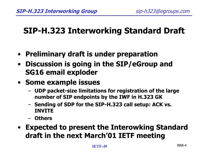 SIP-H.323 Interworking Standard Draft