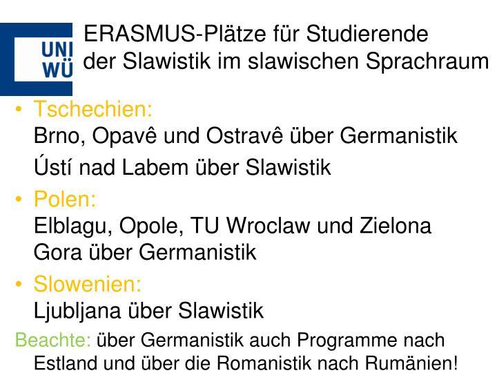 ERASMUS-Plätze für Studierende