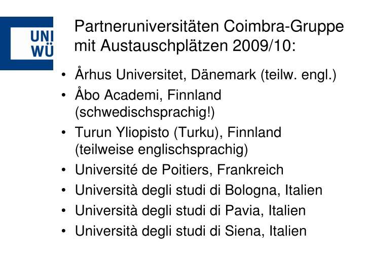 Partneruniversitäten Coimbra-Gruppe