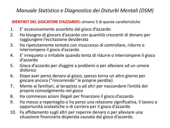 Manuale Statistico e Diagnostico dei Disturbi Mentali (DSM)