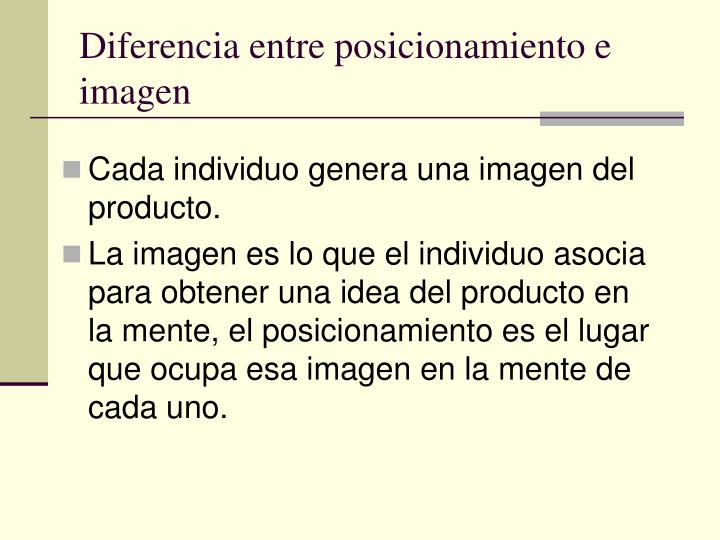 Diferencia entre posicionamiento e imagen