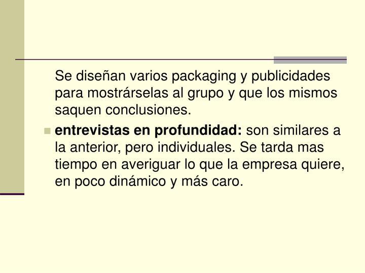 Se diseñan varios packaging y publicidades para mostrárselas al grupo y que los mismos saquen conclusiones.