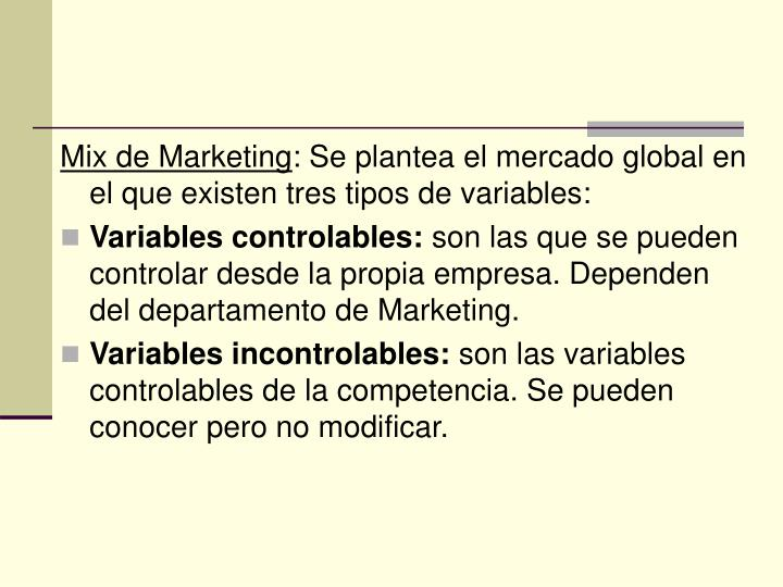Mix de Marketing