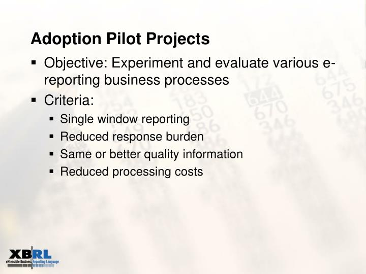 Adoption Pilot Projects