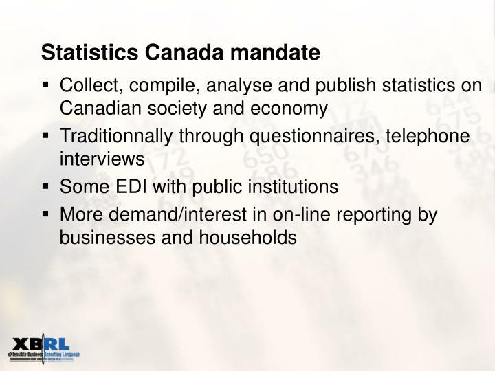 Statistics Canada mandate