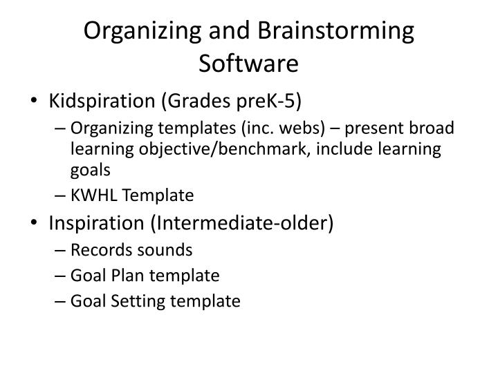 Organizing and Brainstorming Software