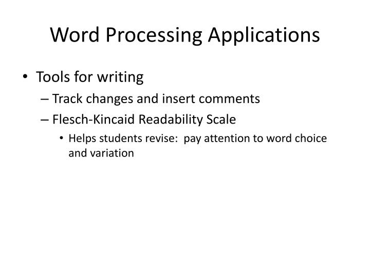 Word Processing Applications