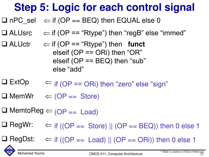 Step 5: Logic for each control signal