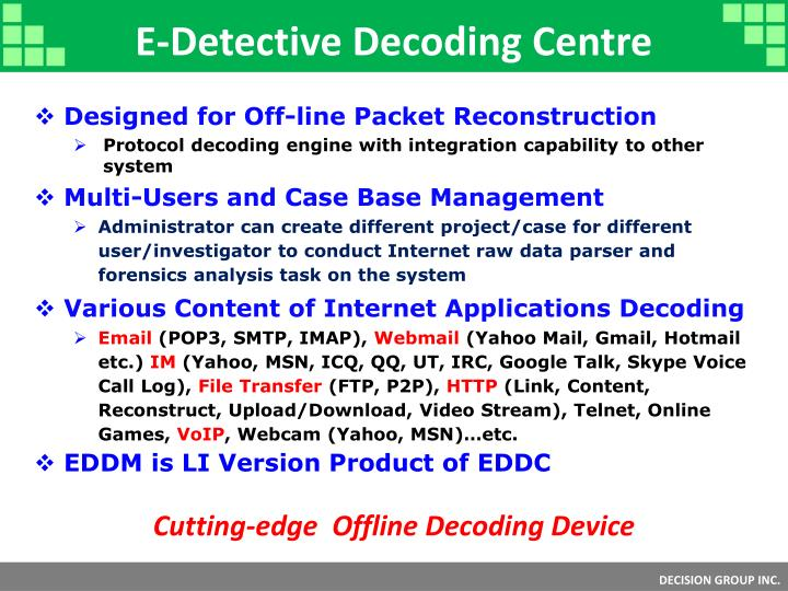 E-Detective Decoding Centre