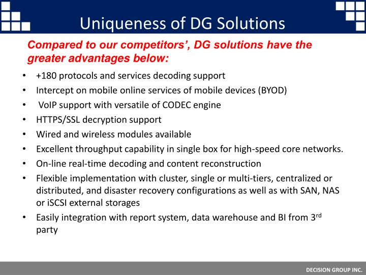 Uniqueness of DG Solutions
