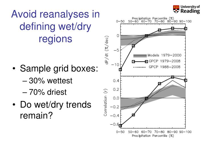 Avoid reanalyses in defining wet/dry regions