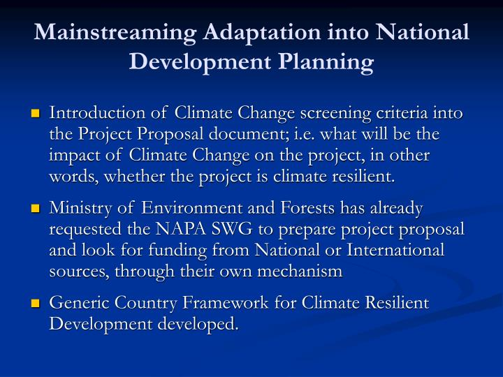Mainstreaming Adaptation into National Development Planning