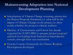 mainstreaming adaptation into national development planning