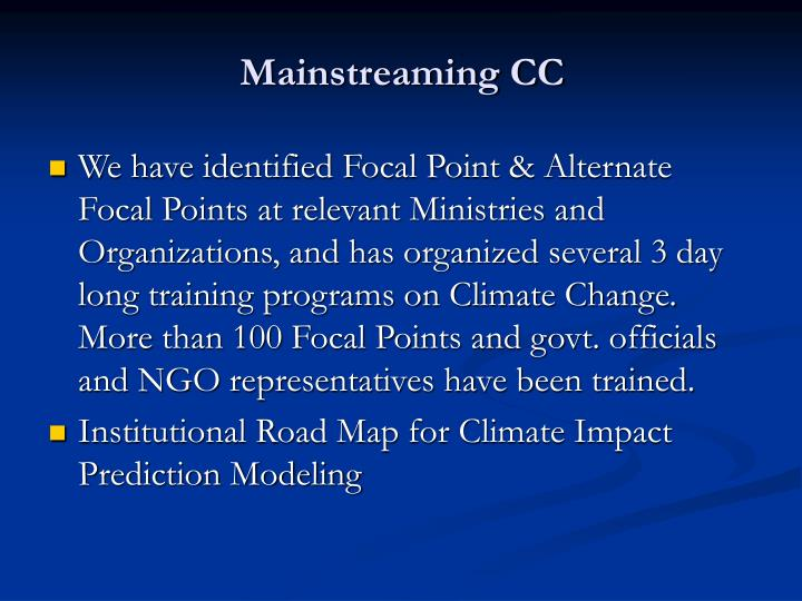 Mainstreaming CC