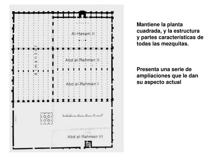 Mantiene la planta cuadrada, y la estructura y partes caractersticas de todas las mezquitas.