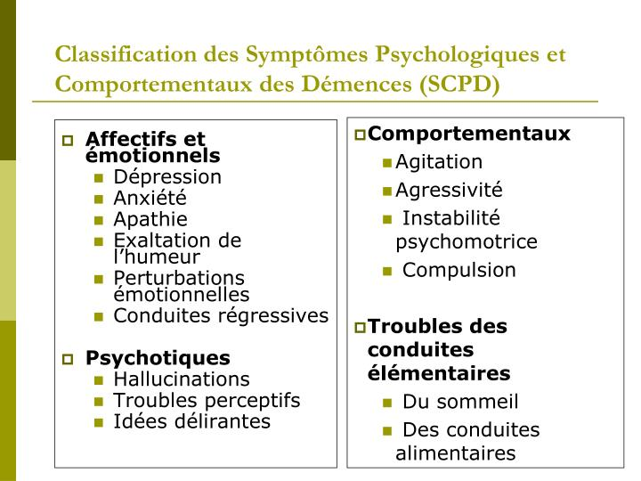 Classification des Symptômes Psychologiques et Comportementaux des Démences (SCPD)