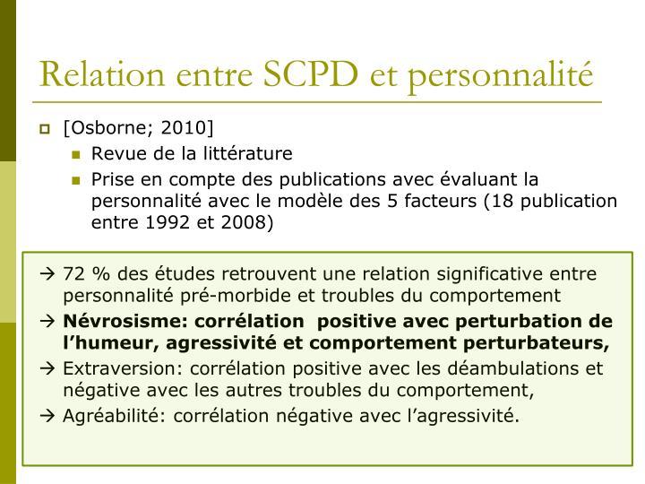 Relation entre SCPD et personnalité