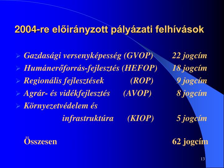 2004-re előirányzott pályázati felhívások