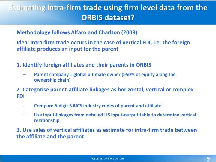 Estimating intra-firm trade using firm level data from the ORBIS