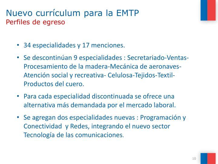 Nuevo currículum para la EMTP
