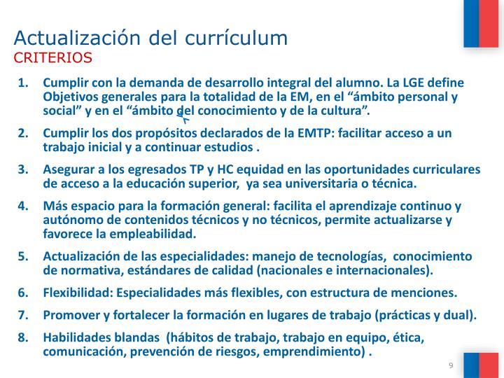 Actualización del currículum