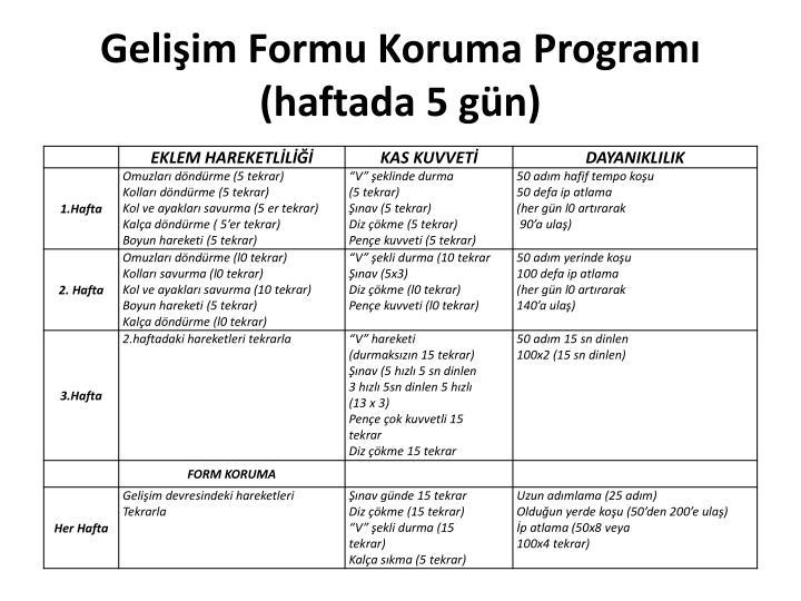 Gelişim Formu Koruma Programı (haftada 5 gün)