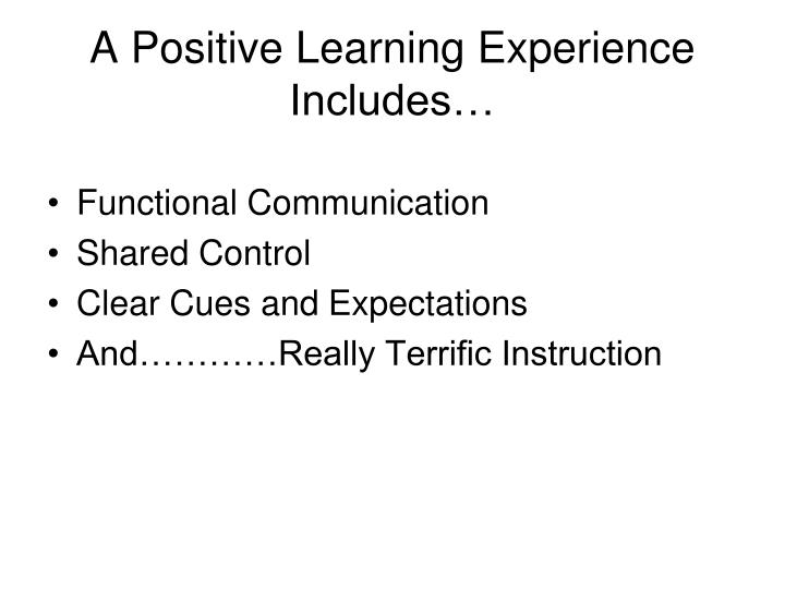 A Positive Learning Experience Includes…