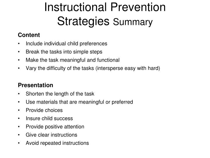 Instructional Prevention Strategies