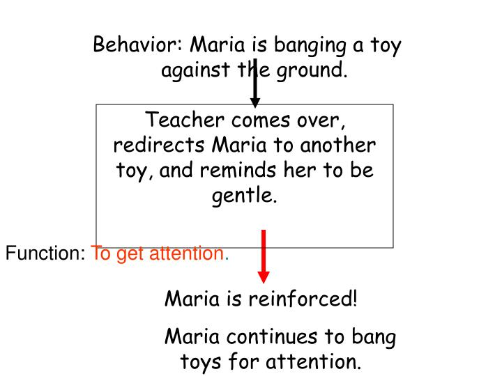 Behavior: Maria is banging a toy against the ground.