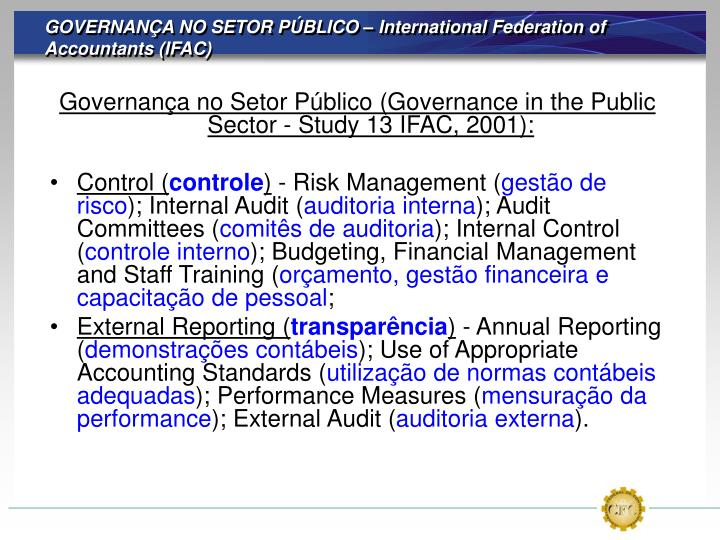 GOVERNANÇA NO SETOR PÚBLICO – International Federation of Accountants (IFAC)