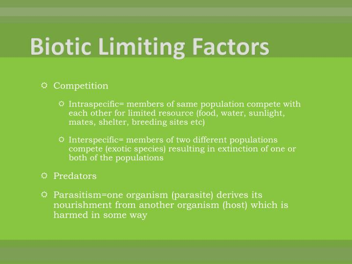 Biotic Limiting Factors