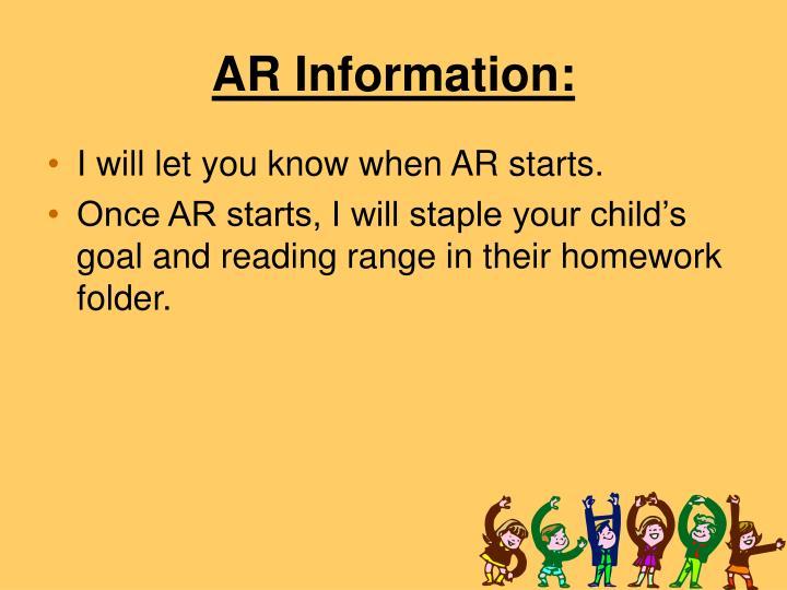 AR Information: