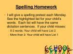 spelling homework